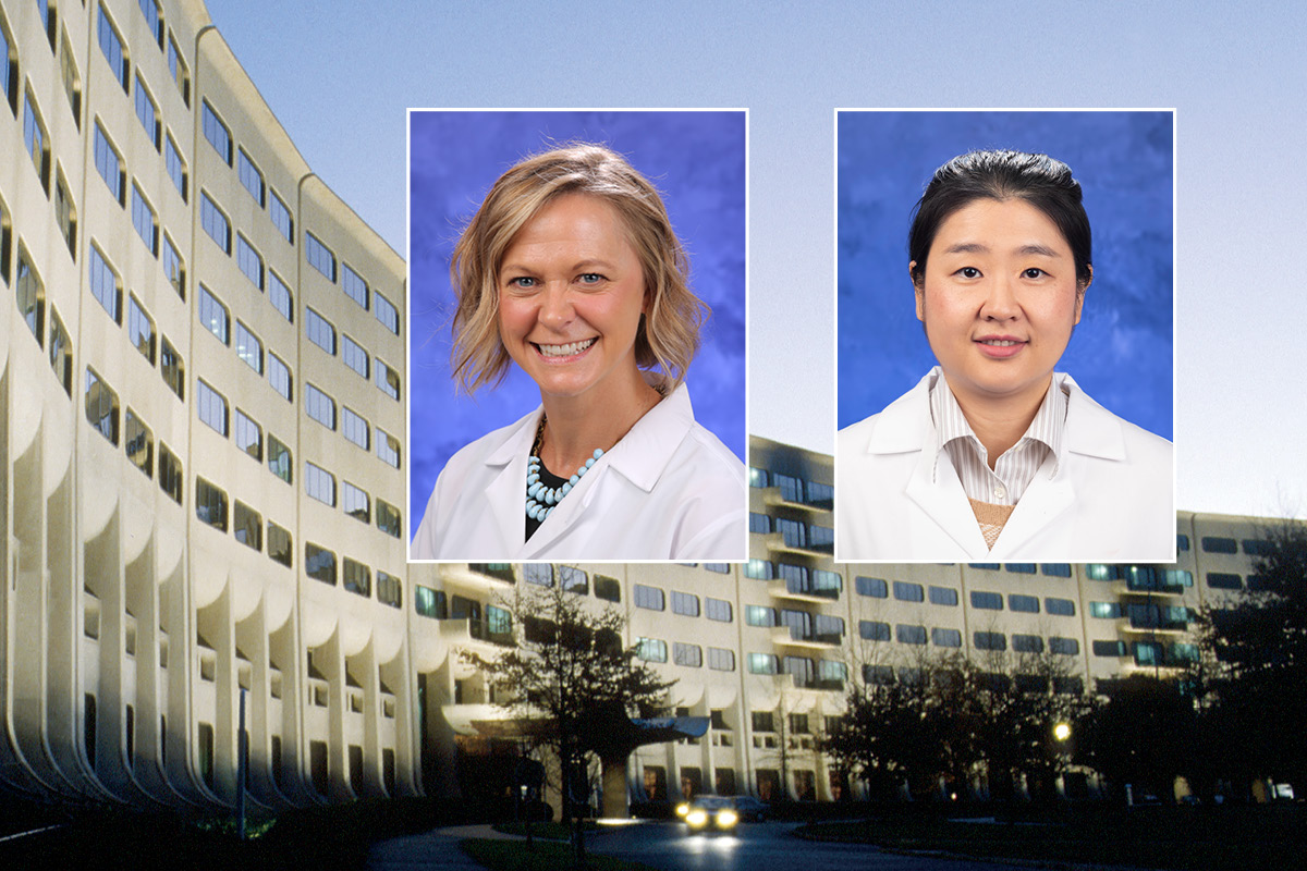 Head and shoulders professional portraits of Dr. Kristina Newport and Dr. Chan Shen against an image of Penn State College of Medicine.
