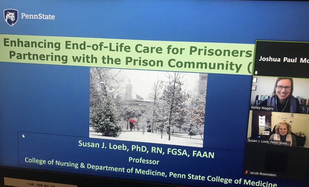 A screenshot from a Zoom course shows a slide introducing Dr. Susan Loeb and the Enhancing End-of-Life Care for Prisoners lesson of the Communicating Care course offered at Penn State Scranton.