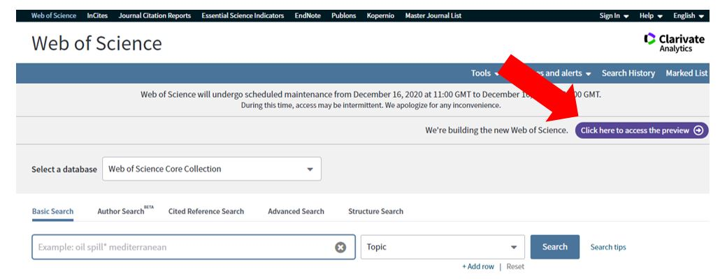 A screenshot from the Web of Science online database search shows a colored arrow pointing to a button that says