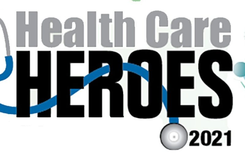 Health Care Heroes 2021 shows stethoscope, heart and pulse.
