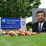 A head shot of a man smiling overlays a photo of the entrance of a College of Medicine campus