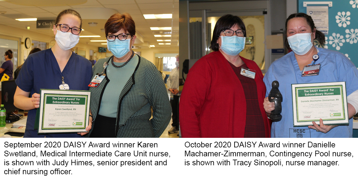 Two images show four people wearing face masks. In the first image a woman on the left holds a plaque. In the second, a woman on the right holds a plaque and a statue.