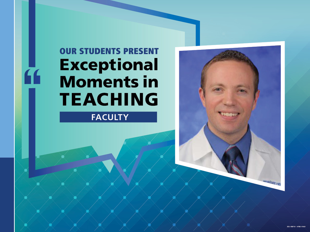 """An Illustration shows Dr. Brandon Peterson's mugshot on a background with the words """"OUR STUDENTS PRESENT Exceptional Moments in Teaching faculty."""""""