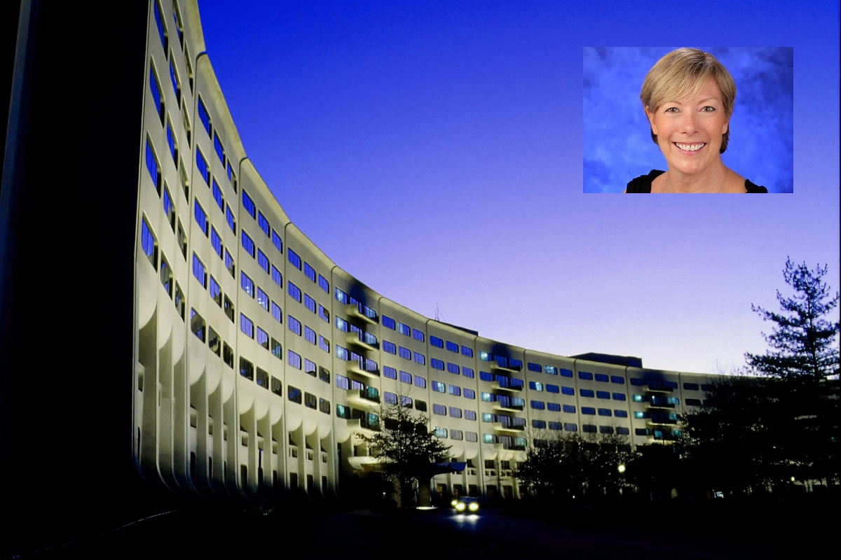 An image of the Penn State College of Medicine crescent includes a portrait of Kathryn Schmitz.