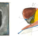 Four examples of abstract paintings by Dr. Noel H. Ballentine include black lines that flow among the colors.