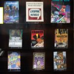 A digital book display image shows nine book covers and a robot telling users to click on each book for more.
