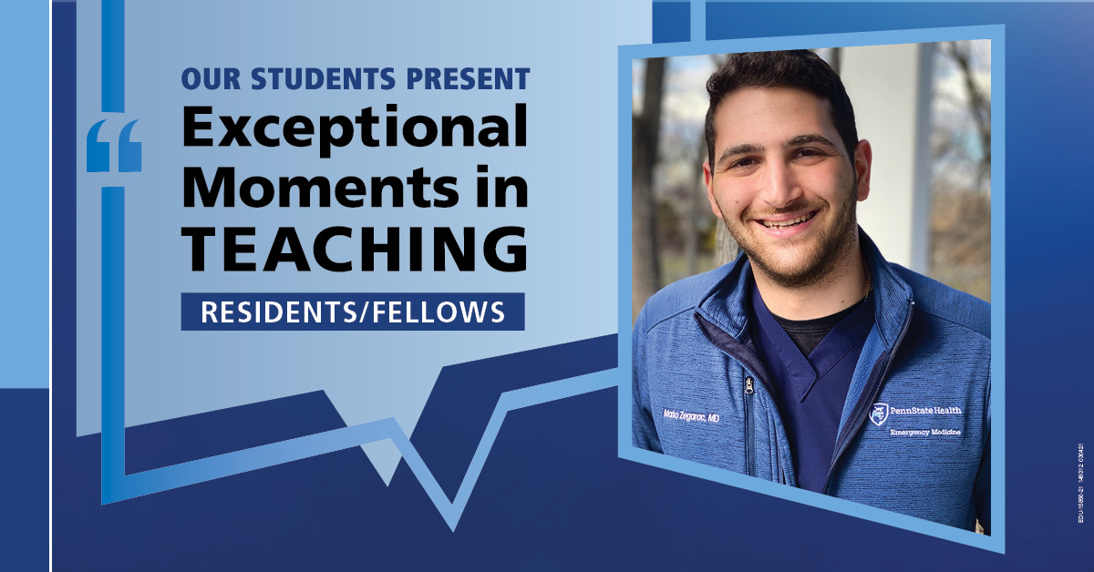 "Image shows a portrait of Dr. Marko Zegarac next to the words ""Our students present Exceptional Moments in Teaching Residents/Fellows."""