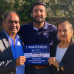 Arshjot Khokhar, a fourth-year medical student at Penn State College of Medicine, stands with his parents holding a sign saying that he matched into internal medicine residency at Yale New Haven Hospital.