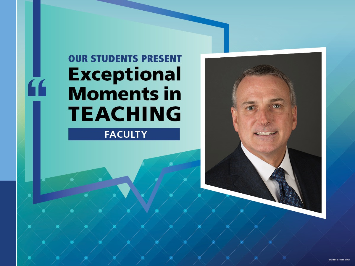 """An Illustration shows Kent Vrana's mugshot on a background with the words """"OUR STUDENTS PRESENT Exceptional Moments in Teaching faculty."""""""
