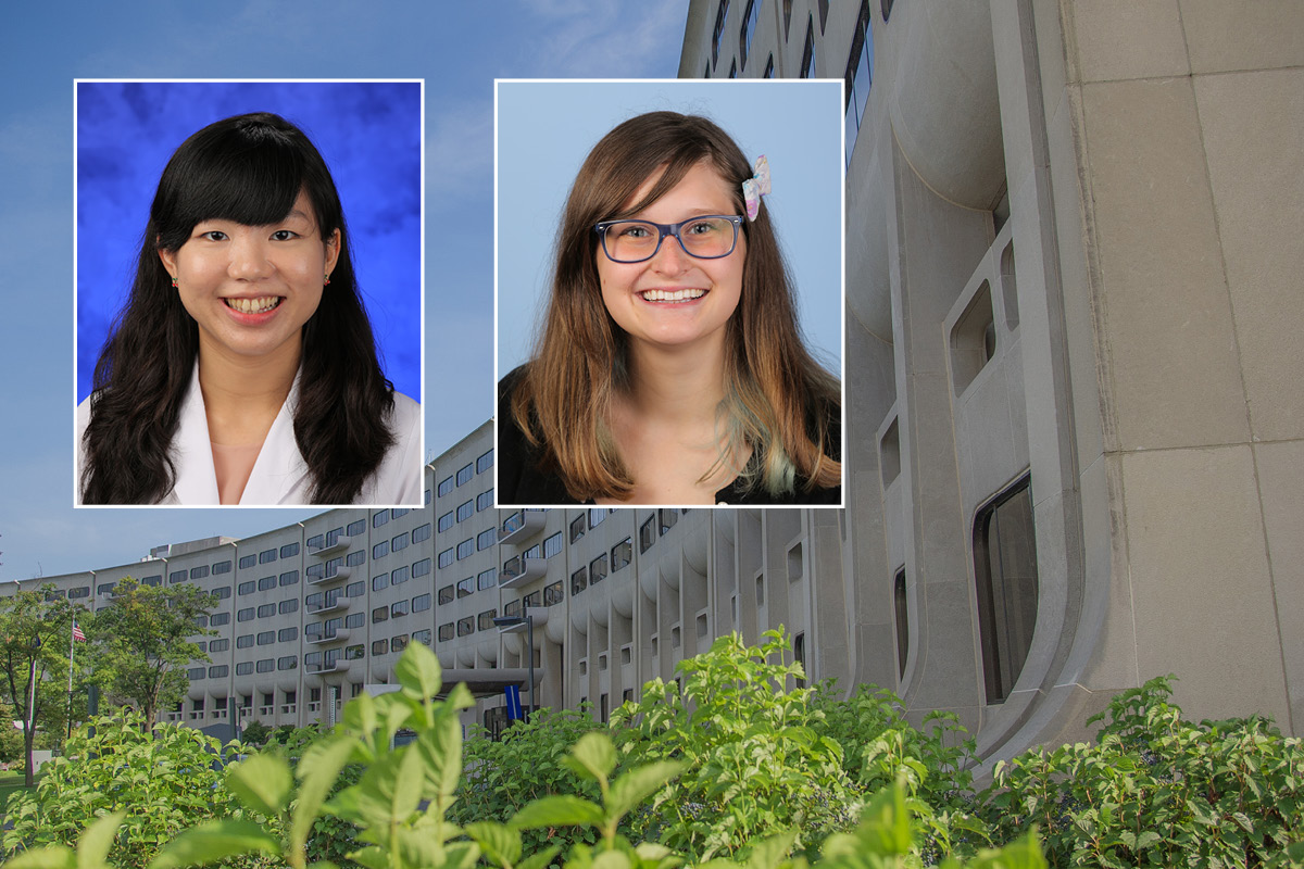 Head and shoulders professional portraits of Patricia Yee and Angela Snyder against a background image of Penn State College of Medicine