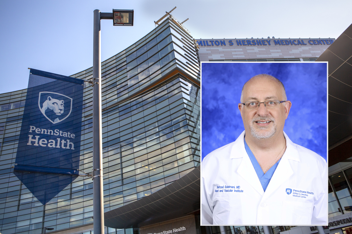 A professional headshot of Dr. Behzad Soleimani is superimposed over a stock photo of Hershey Medical Center.