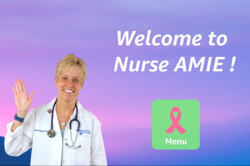 A female nurse appears on the home screen of the Nurse AMIE platform, which aims to provide supportive care interventions for breast cancer patients.