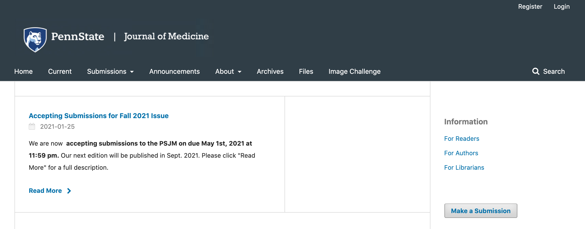 A screenshot shows a portion of the Penn State Journal of Medicine website that says it's accepting fall submissions.