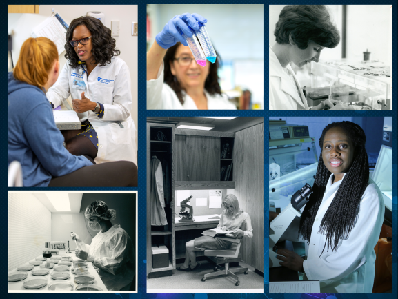 Collage of women in biomedical sciences that span the past 50 years