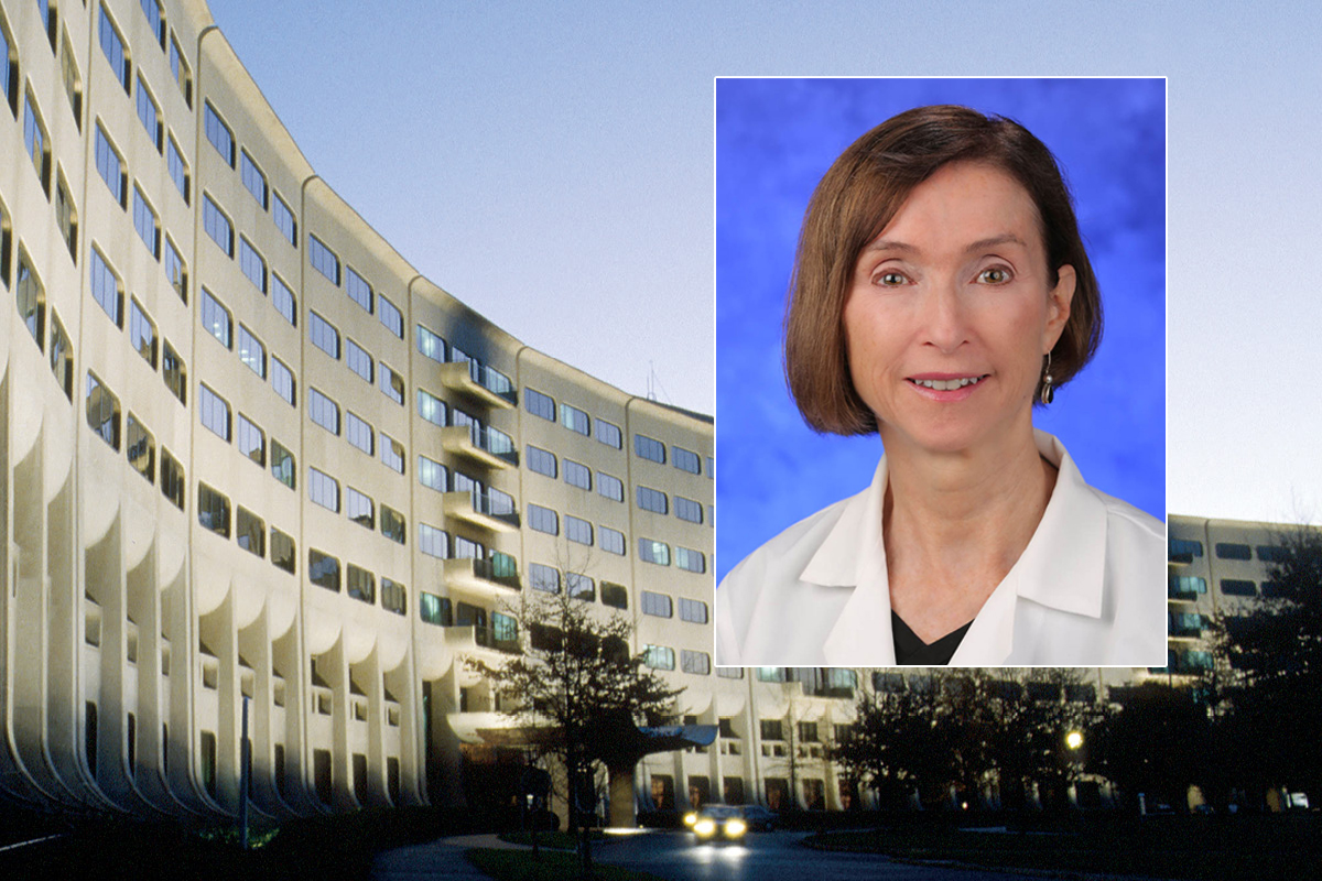 A head and shoulders professional portrait of Diane Thiboutot against a background image of Penn State College of Medicine