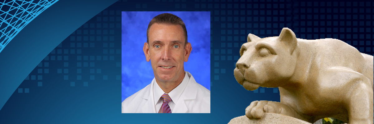 The image contains a professional photo of Dr. Kevin Black wearing a doctor's coat next to a statue of the Nittany Lion.