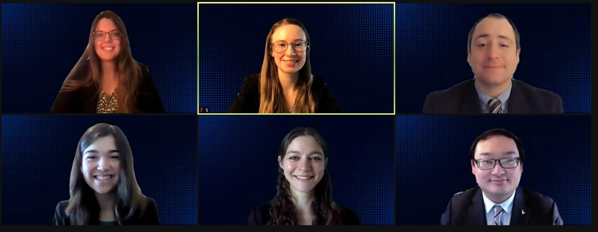 Savanna Ledford, Krista Harmann, Brian Drury, Xingyan Wang, Emma Baker and Laura Guay participate in a virtual global health competition.