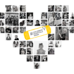 "A collage of photos of CMN children, staff and others is arranged as a heart. The words ""Childrens Hospital Week"" are in the center."