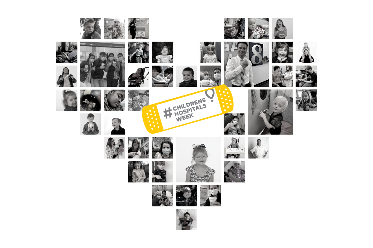 A collage of photos of CMN children, staff and others is arranged as a heart. The words
