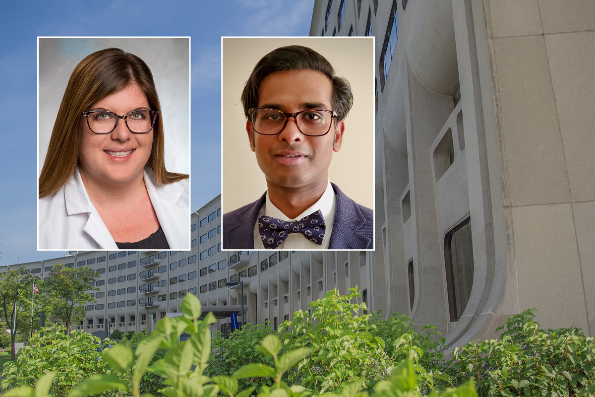 Head and shoulders professional portraits of Drs. Allison Cleary and Balaji Krishnaiah against a background image of Penn State College of Medicine