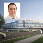 A portrait of Dr. James Leaming is superimoposed on a rendering of Holy Spirit Medical Center.