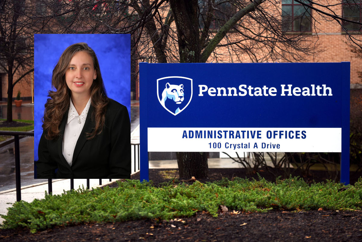 A photo of a woman smiling overlaid on a photo of the front of an administrative building