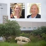 Portraits of Megan Kelly and Patty Kelly are shown against a backdrop of the St. Joseph campus.