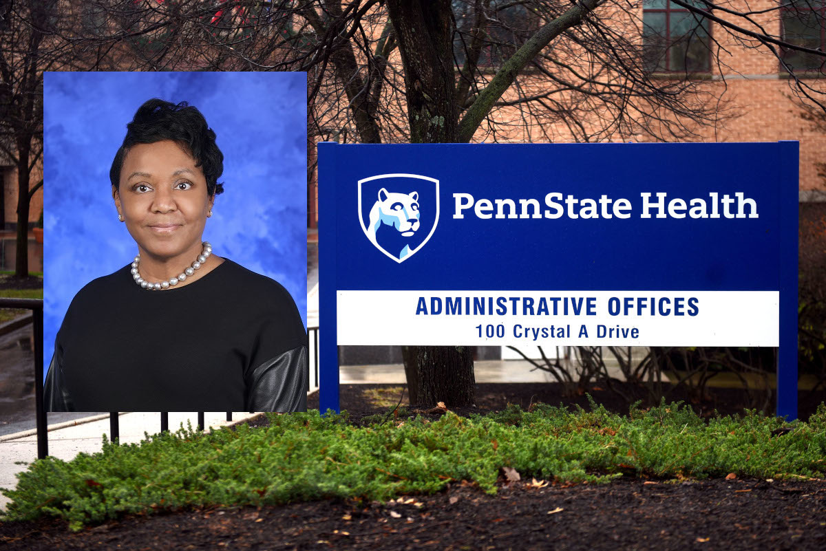 A photo of a woman smiling is overlaid on a photo of the front entrance of an administrative building