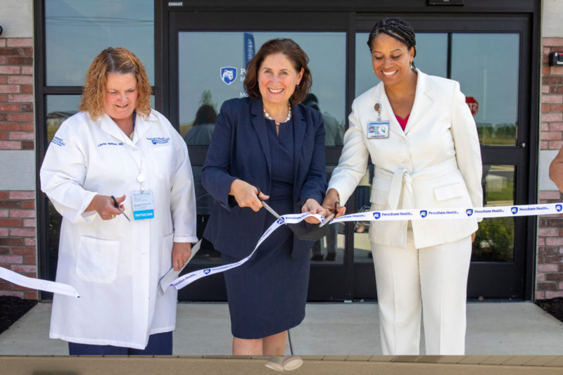 Staff cut ribbons at two new Penn State Health Medical Group locations.