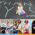 """A composite image with several photos of a young girl participating in various activities. In a horizontal photo across the top half, she is sitting amid a chalk drawing reading """"THANK YOU."""""""