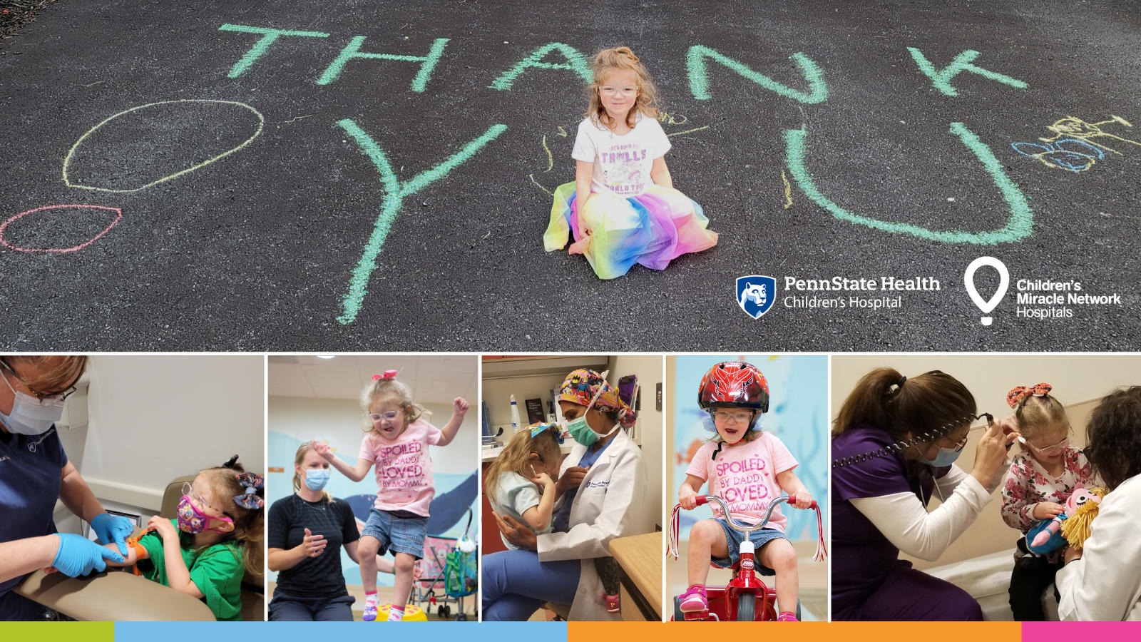 A composite image with several photos of a young girl participating in various activities. In a horizontal photo across the top half, she is sitting amid a chalk drawing reading