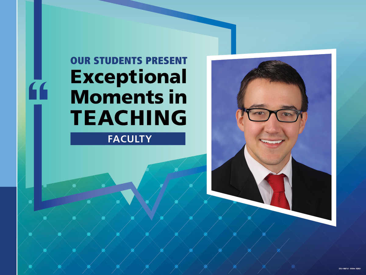 """An Illustration shows Dr. Nicholas Zaorsky's mugshot on a background with the words """"OUR STUDENTS PRESENT Exceptional Moments in Teaching faculty."""""""