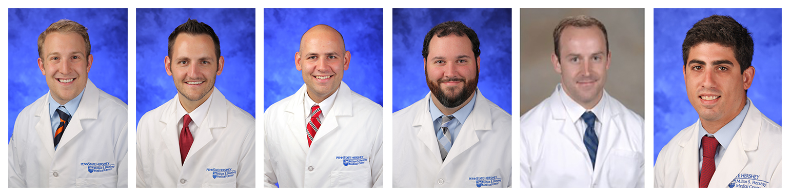 Pictured are, from left, head-and-shoulders portraits of Shawn Bifano, MD; Chris Kowalski, MD; Ryan Ridenour, MD; Matt Widner, MD; Kevin Perry, MD; and Greg Pace, MD.