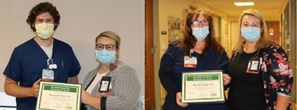 Left photo: A man wearing nursing scrubs and a face mask receives a plaque from a woman wearing a face mask and eyeglasses. Right photo: A woman wearing nursing scrubs, eyeglasses and a face mask receives a plaque from a woman wearing a face mask.