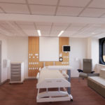An artist's depiction of a renovated hospital room at Hershey Medical Center, with a bed and other furniture and equipment.