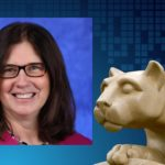 A professional headshot of Michele Szkolnicki is positioned in a graphic next to a photo of a Penn State Nittany Lion statue.