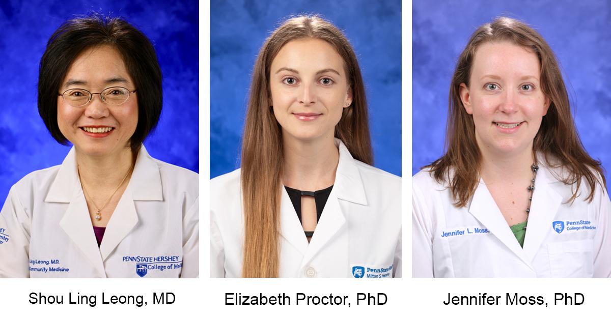 Separate studio shots of three doctors in lab coats.