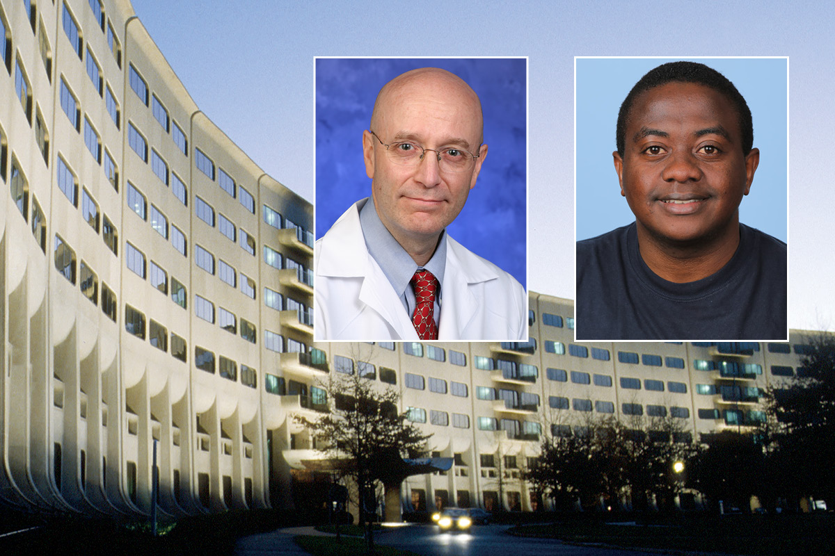 Head and shoulders professional portraits of Dr. Steven Schiff and Dr. Paddy Ssentongo against a background image of Penn State College of Medicine.