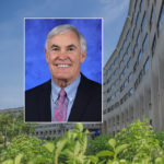 A head and shoulders professional portrait of James Broach against a background image of Penn State College of Medicine.