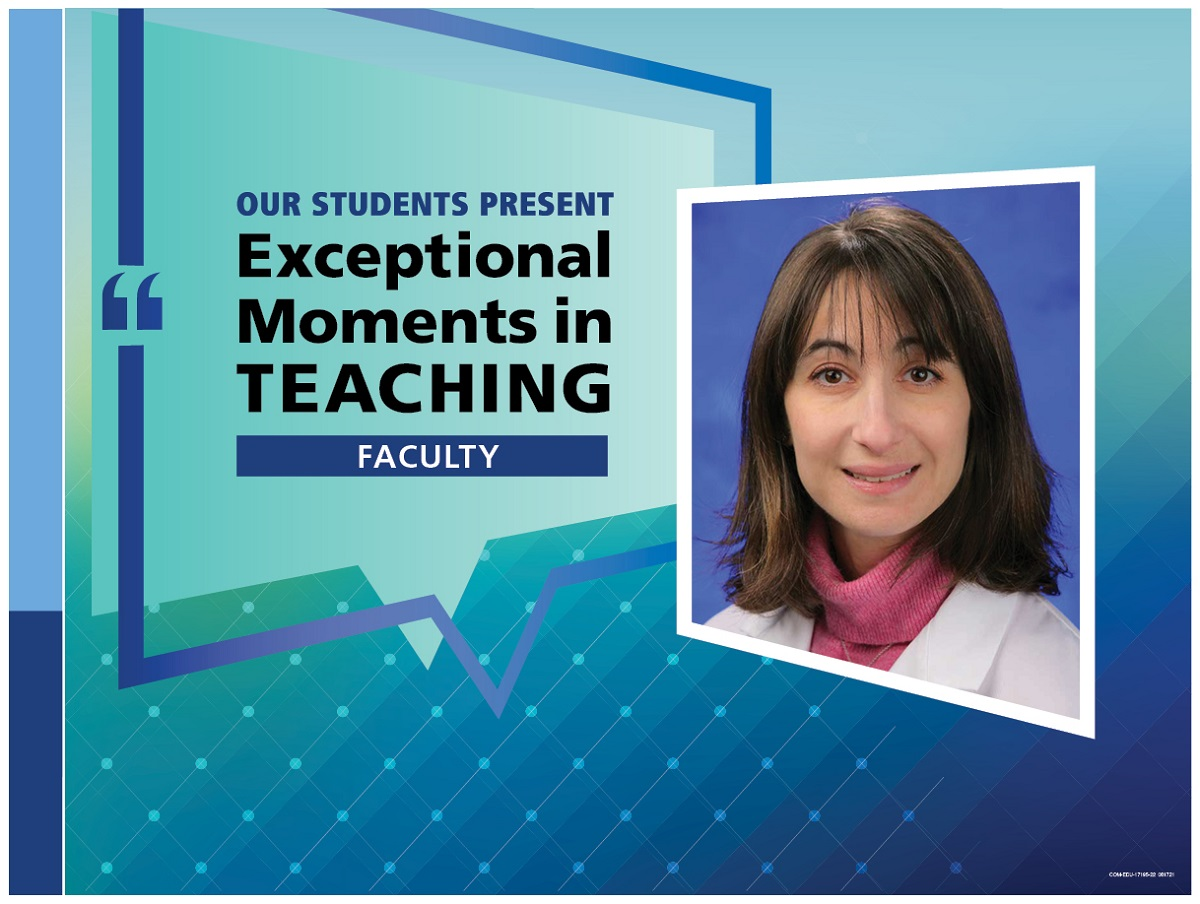 """An Illustration shows Dr. Alexandra Horwitz's mugshot on a background with the words """"OUR STUDENTS PRESENT Exceptional Moments in Teaching faculty."""""""