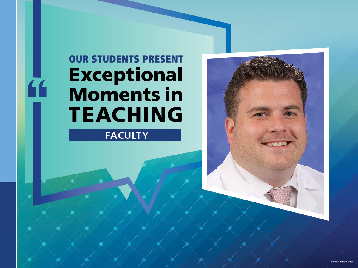 """An Illustration shows Dr. Charles Mormando's mugshot on a background with the words """"OUR STUDENTS PRESENT Exceptional Moments in Teaching faculty."""""""