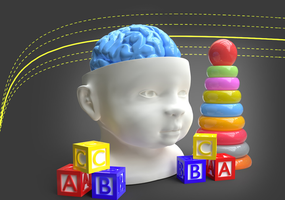 An abstract image of mathematical curves, a child's brain and children's toys.