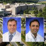 Head and shoulders professional portraits of Dino Ravnic and Arun Sharma against a background image of Penn State College of Medicine and Penn State Health Milton S. Hershey Medical Center