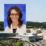A head and shoulders professional portrait of Dr. Erika Saunders against a background image of Penn State College of Medicine and Penn State Health Milton S. Hershey Medical Center.
