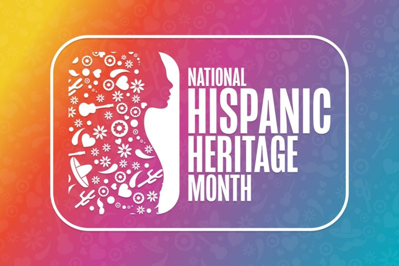 A graphic, showing a rendering of a woman in profile next to the words National Hispanic Heritage Month.