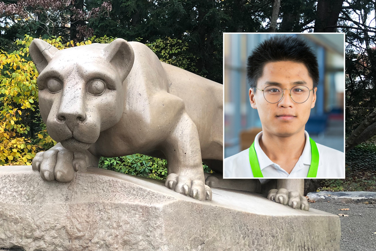 A photo of semifinalist Chen Wang, a graduate student from Penn State's PhD program in bioinformatics and genomics, is shown along with a photo of a Nittany Lion statute.