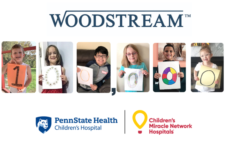"""A collage depicts six children each holding up a digit in the number """"100,000."""" The Woodstream, Penn State Health Children's Hospital and CMN logos also appear."""